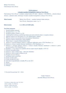 Informace o konání zasedání Zastupitelstva městyse Nové Dvory