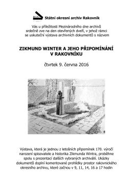 Pozvánka na výstavu Zikmund Winter a jeho připomínání v Rakovníku
