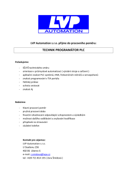 LVP Automation s.r.o. / Technik programátor PLC