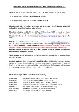 Informace a organizační pokyny k atestační zkoušce z