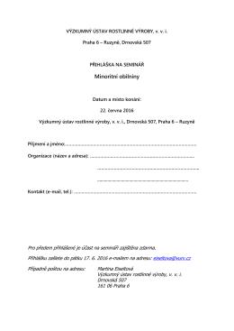 Přihlášku - Výzkumný ústav rostlinné výroby