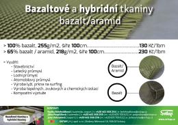 Bazaltové a hybridní tkaniny bazalt/aramid