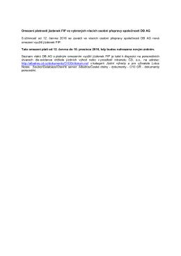 Omezení platnosti jízdenek FIP ve vybraných