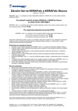 Záruční list na KERAFalc a KERAFalc Stucco