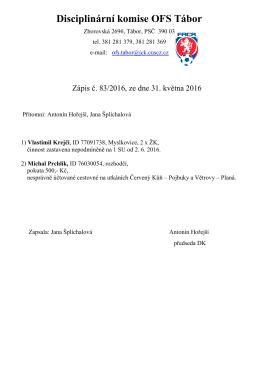 Disciplinární komise OFS Tábor