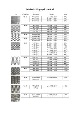 Tabulka katalogových tahokovů