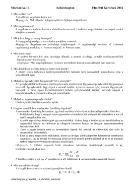 Mechanika II. Szilárdságtan Elméleti Kérdések 2016