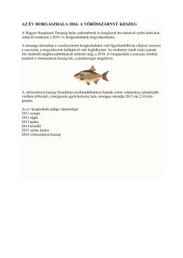 az év horgászhala 2016: a vörösszárnyú keszeg