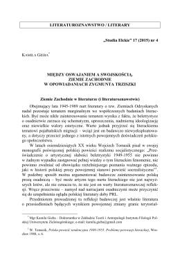 """LITERATUROZNAWSTWO / LITERARY """"Studia Ełckie"""" 17"""