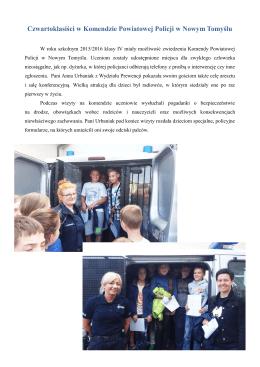Czwartoklasiści w Komendzie Powiatowej Policji w Nowym Tomyślu