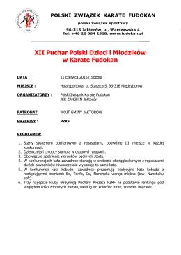 2016 Pełny Regulamin XII PP Dzieci i Młodzików PZKF Jaktorów