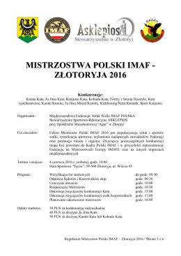 Regulamin - IMAF POLSKA