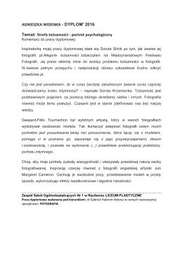 Komentarz do pracy dyplomowej Agnieszki Widenki.