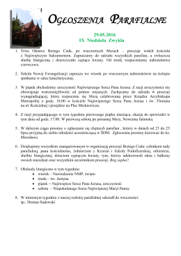 ogłoszenia parafialne - Parafia Garnizonowa