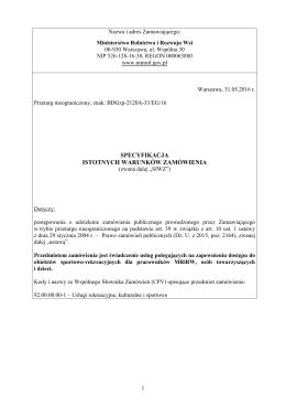 SIWZ - BIP Ministerstwo Rolnictwa i Rozwoju Wsi