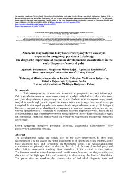 Znaczenie diagnostyczne klasyfikacji rozwojowych we