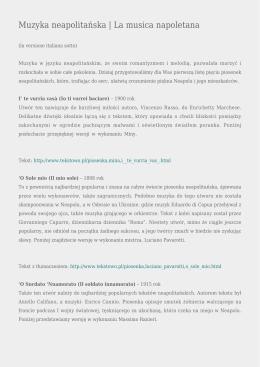 Muzyka neapolitańska | La musica napoletana