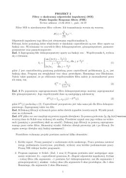 PROJEKT 2 Filtry o skończonej odpowiedzi impulsowej (SOI) Finite