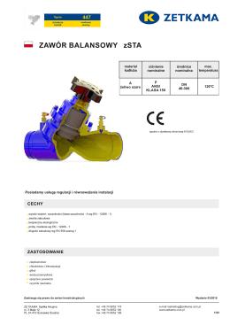 Karta katalogowa - zawór balansowy statyczny rowkowy 447