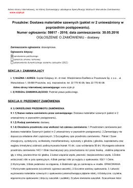 Pruszków: Dostawa materiałów szewnych (pakiet nr 2