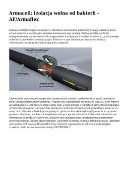 Armacell: Izolacja wolna od bakterii - AF/Armaflex