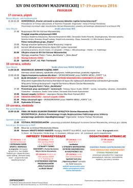 program XIV Dni OstrowiMazowieckiej 2016