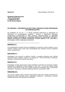 """Wyjaśnienia - Spółdzielnia Mieszkaniowa """"Nasza Spółdzielnia"""""""