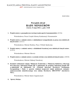 31 maja 2016 r. - BIP Rady Ministrów i Kancelarii Prezesa Rady
