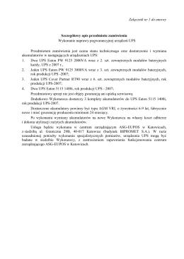 Załącznik nr 1 do umowy Szczegółowy opis przedmiotu zamówienia