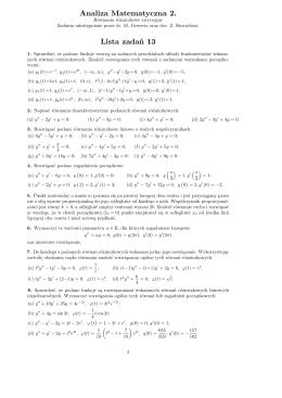 Analiza Matematyczna 2. Lista zadań 13