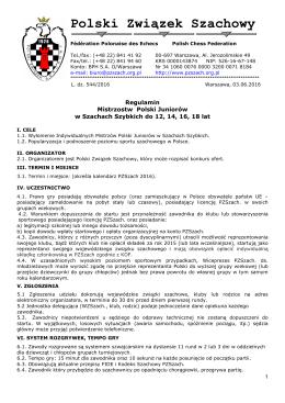 Regulaminy Mistrzostw Polski Juniorów w szachach