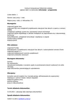 Centrum Komputerowe Politechniki Łódzkiej ogłasza nabór na