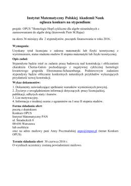 3 CZE 2016 Konkurs na stypendium: projekt OPUS