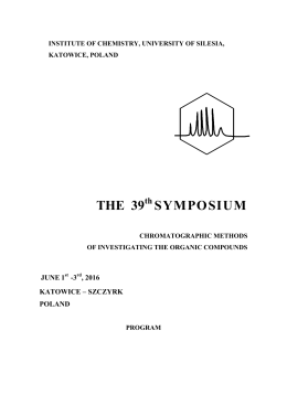 Program - The 39th Symposium Chromatographic Methods of
