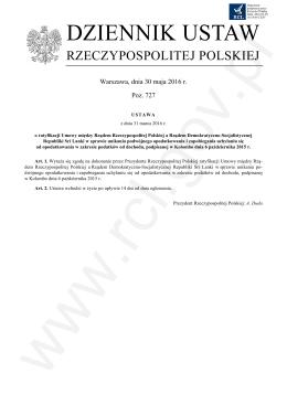 OGŁ - FOTO - Pozycja XXX DDUTJ.60.3.2016 o ratyfikacji umowy ze