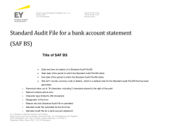 Standard Audit File for a bank account statement (SAF BS)