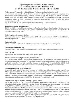 23. ČS zpráva o činnosti družstva za období listopad 2015 až květen