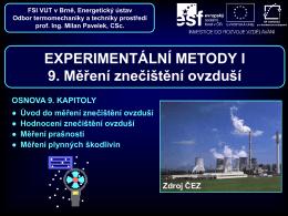 Měření prašnosti - Odbor termomechaniky a techniky prostředí