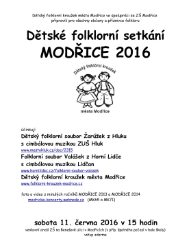 Program setkání - Folklorní kroužek města Modřice