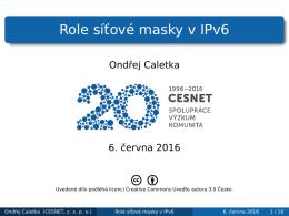 Role síťové masky v IPv6