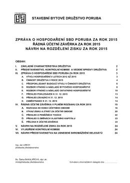 Zpráva o hospodaření SBD Poruba za rok 2015