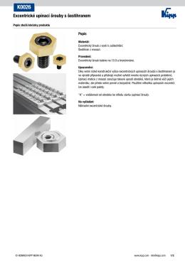 Datový list K0026 Excentrické upínací šrouby s šestihranem
