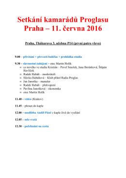 Setkání kamarádů Proglasu Praha – 11. června 2016