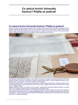 Co ukrývá Archiv Univerzity Karlovy? Přijďte se podívat!