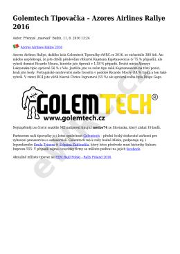 Golemtech Tipovačka – Azores Airlines Rallye 2016