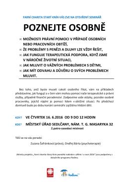 Otevřený seminář - Městský úřad Sedlčany