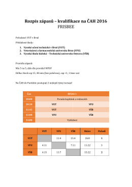 Rozpis zápasů – kvalifikace na ČAH 2016 FRISBEE