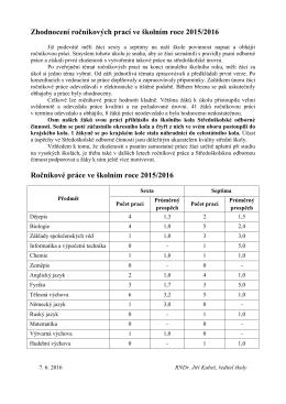 Zhodnocení ročníkových prací ve školním roce 2015