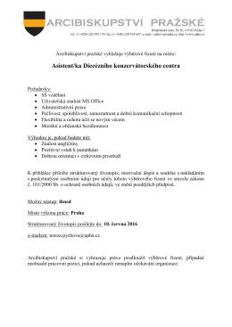 VŘ Asistentka DKC