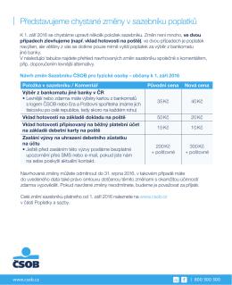 Návrh změn Sazebníku ČSOB pro fyzické osoby – občany k 1. září